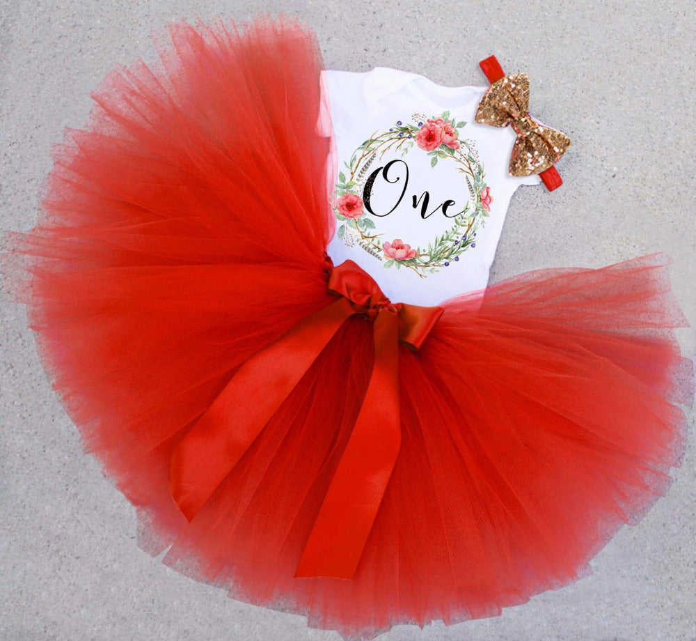 6c08574a5 Newborn Baby Girl One Year 1st Birthday Party Sets Baby Tulle Tutu ...