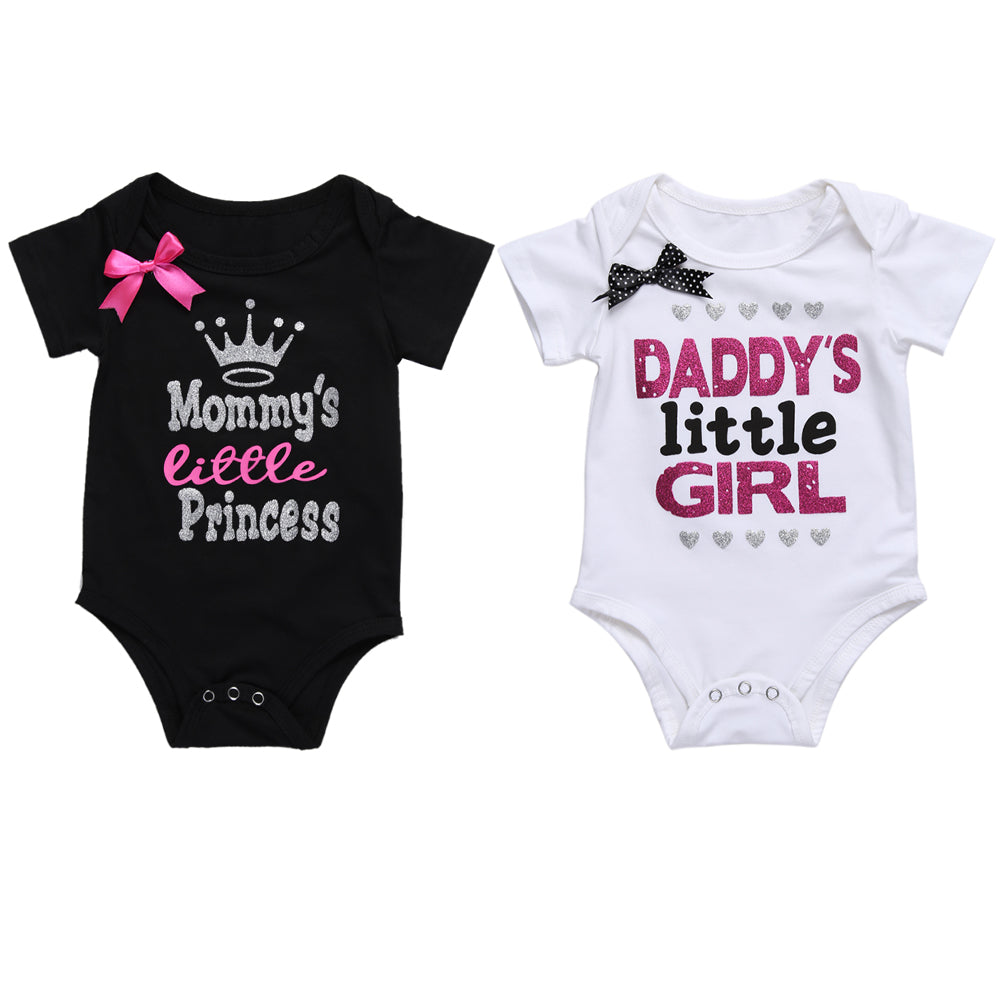 8346e9a90553 Newborn Baby Girls Clothes Summer Daddy s Little Girl Letter Print Romper  Jumpsuit Short Sleeve Outfit Clothing