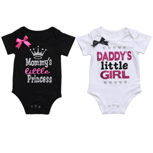 08e381b45 Newborn Baby Girls Clothes Summer Daddy's Little Girl Letter Print Romper  Jumpsuit Short Sleeve Outfit Clothing