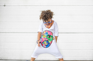 """Pikanye Color Crazy"" White Romper - Childish"