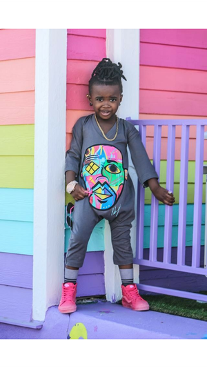 """Pikanye Color Crazy"" Gray Romper - Childish"