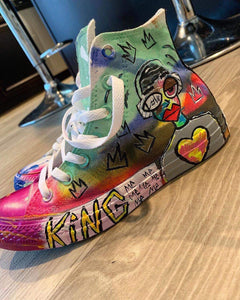 """Hand Painted By Pikanye Converse"" Little Kids"
