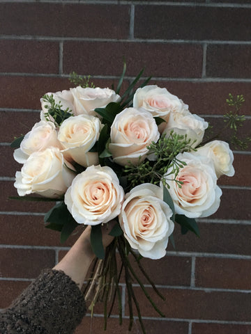Dozen Cream or White Roses Cut Bouquet