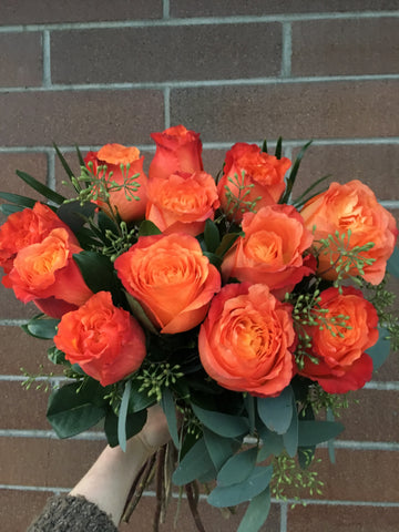 Dozen Orange Roses Cut Bouquet