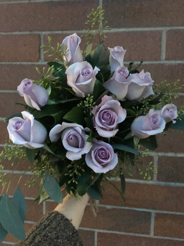 Dozen Purple Roses Cut Bouquet