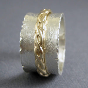 Wide carved spinner ring with 14k top gold ring