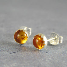 amber studs in sterling siler