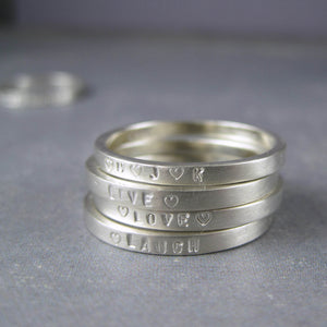 Stacking ring in sterling silver with custom inscription - 2mm wide poesy ring