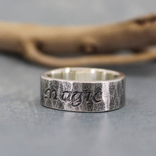 Rustic hammered silver ring