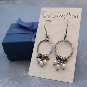 Pearl dangle hoops