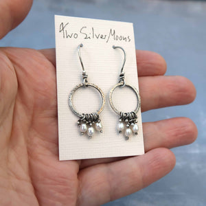 Unique pearl earrings in sterling silver