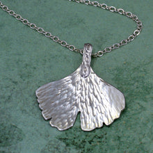 Sterling silver ginkgo leaf necklace, eternity bail