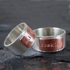 personalized mixed metal ring
