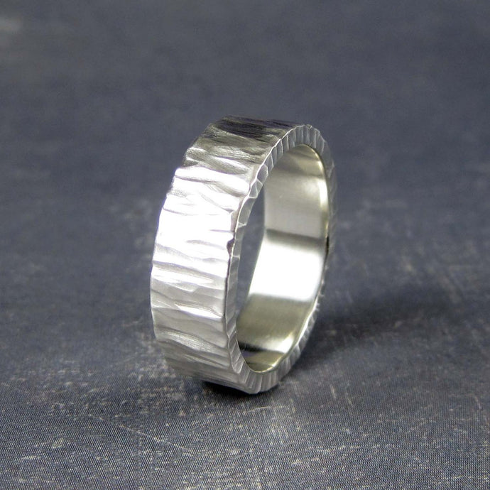 tree bark wedding band in silver