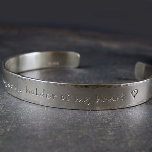 custom sterling silver cuff with inscription