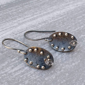 Handmade sterling silver earrings with Herkimer diamonds