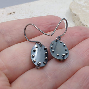 Oval Moon Pebble earring with Herkimer diamond