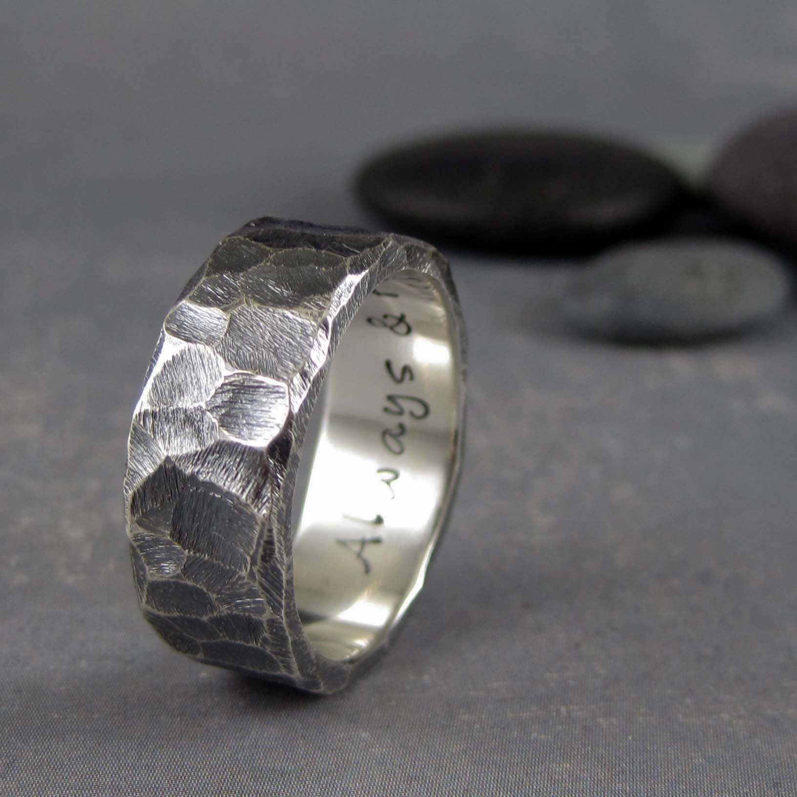 Rough hewn sterling silver wedding band with custom inscription