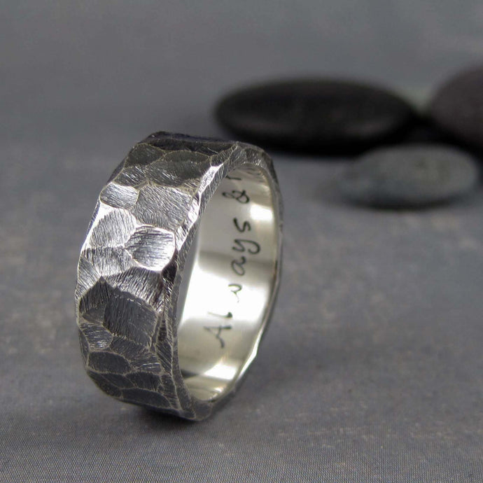 black silver wedding band