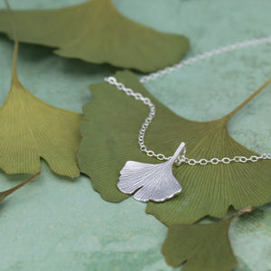 Small ginkgo leaf necklace in sterling silver