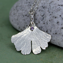 Silver gingko leaf necklace with amethyst