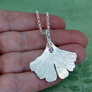 leaf necklace with amethyst