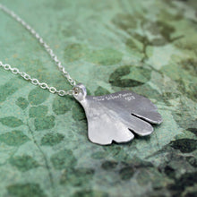 Ginkgo leaf necklace in sterling silver