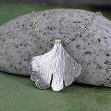 Ginkgo leaf necklace silver