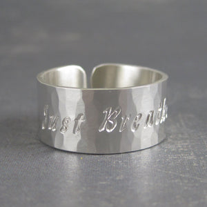 Just Breathe silver ring