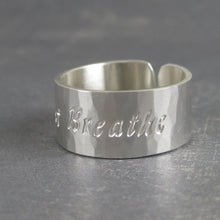 Just Breathe inspirational cuff ring
