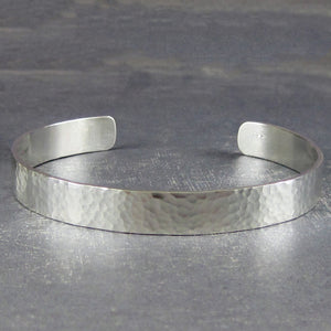 Hammered sterling silver bracelet cuff for her