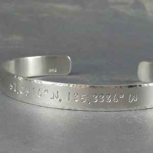Longitude and Latitude bracelet in silver