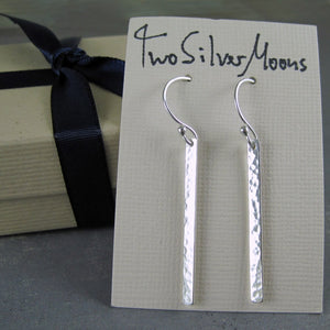 hammered silver stick earrings