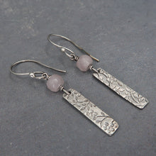 Silver and rose quartz dangle earrings