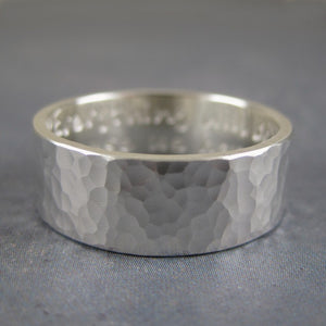 hammered sterling silver ring with inscription