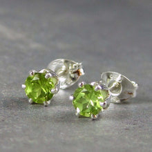 Green gemstone post earrings with peridot