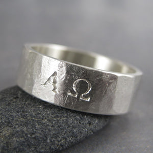 alpha omega silver ring