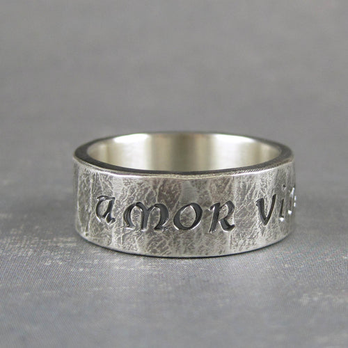 Latin quote ring for man