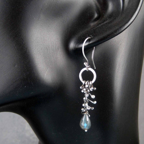 Long earrings - Dark sterling silver and labradorite dangle earrings