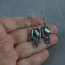 Sterling silver dangle earrings with Labradorite gemstones