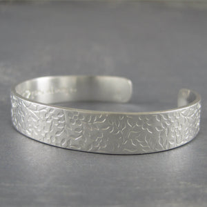 Floral sterling silver cuff custom inscribed