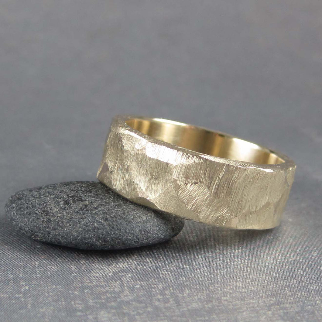 Mens rustic gold ring