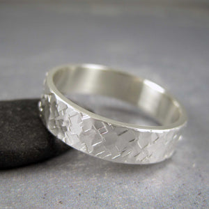 Men's wedding band sterling silver