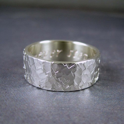 rustic hammered silver band ring