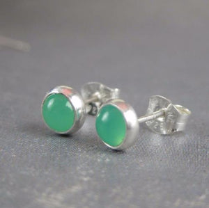 Green gemstone post earrings