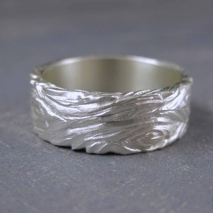carved sterling silver ring