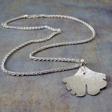 Silver gingko necklace
