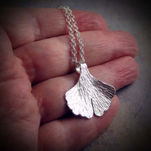 Small sterling silver ginkgo leaf necklace