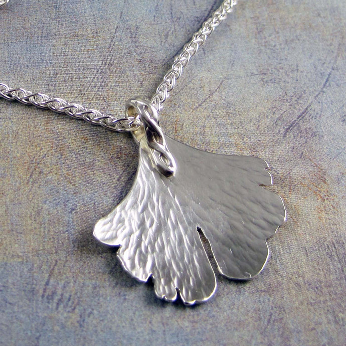 Sterling silver ginko necklace