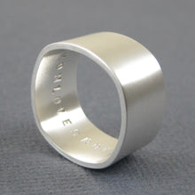 Square wide sterling silver ring with custom engraving
